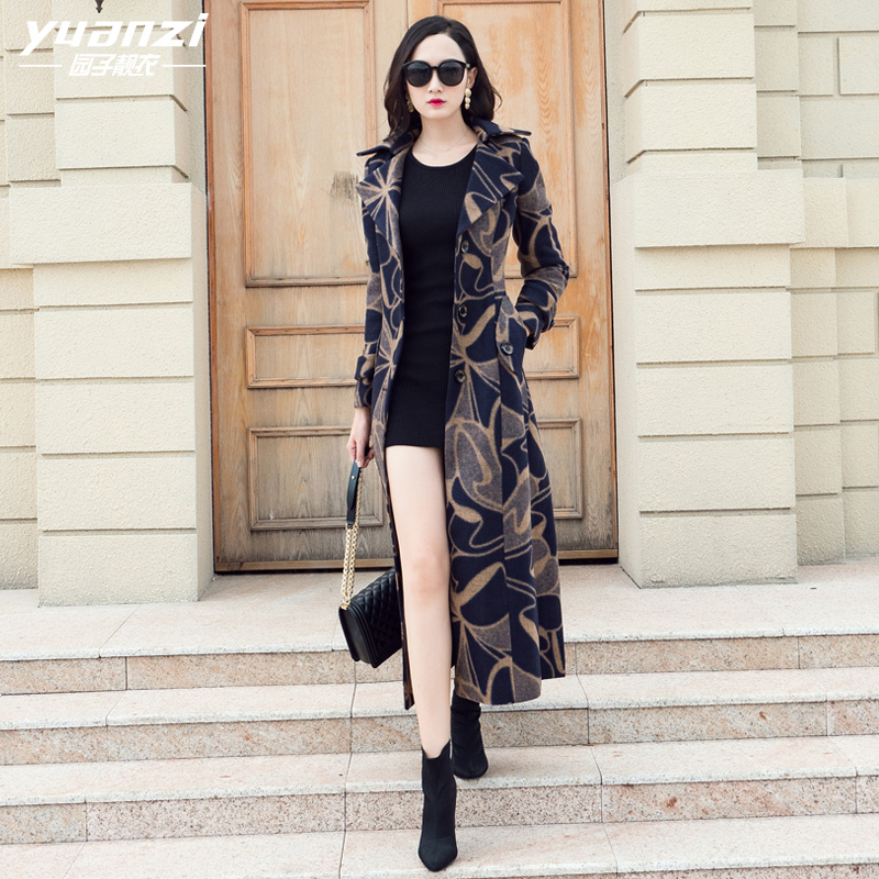 Model Design Womens Winter Coats 2018 New Printing Wool Coat Swimsuit Collar Single-Breasted Slim Plus Measurement Lengthy Wool Blends Outwear