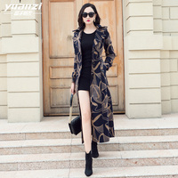 Brand Design Womens Winter Coats 2018 New Printing Wool Coat Suit Collar Single breasted Slim Plus Size Long Wool Blends Outwear