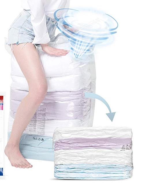 Space Saver Vacuum Storage Bags No Pump Needed Cube Extra Large Bag For Blanket Duvet Pillow Bedding Premium Strong Re-Usable