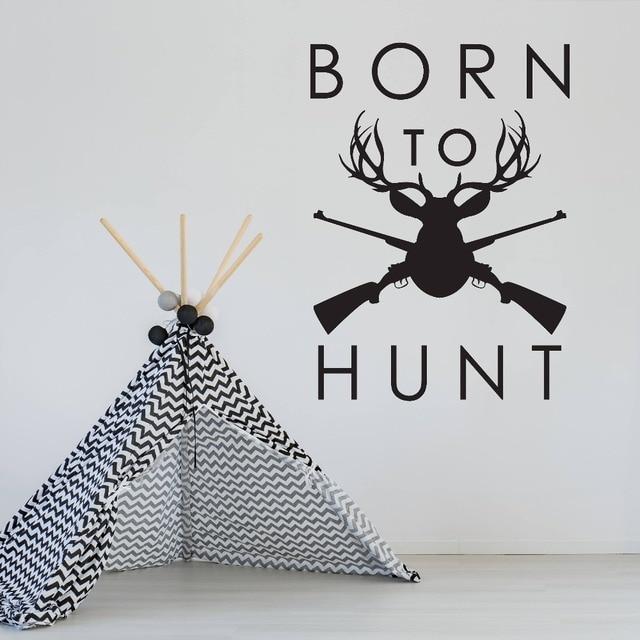 chasse cabine signe sticker cours n chasse gun motif vinyle stickers muraux pour papa cadeaux. Black Bedroom Furniture Sets. Home Design Ideas