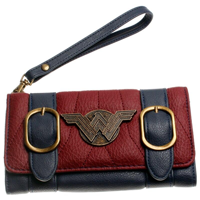 Wonder femme portefeuille double boucle tri pli rabat sac à main bleu/Bordeaux rouge brodé métal badge portefeuille femal DFT-6502 1