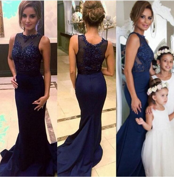 2018 Navy Blue Mermaid   Bridesmaid     Dresses   Beading Appliques O Neck For Weddings Long Lady   Dress   Party Gowns Hot Sale M2108