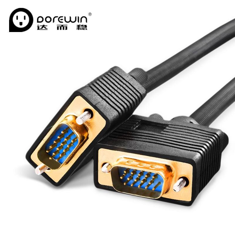 Dorewin VGA font b Cable b font 1080P Male to Male Flat Round HD Shielding High