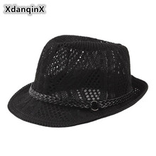 XdanqinX Summer Unisex Knitted Mesh Breathable Curled Fedoras Hats For Men And Women Panama Fashion Ventilated Jazz Beach Hat