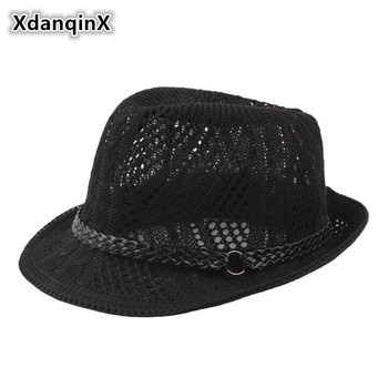 цена на XdanqinX Summer Unisex Knitted Mesh Breathable Curled Fedoras Hats For Men And Women Panama Fashion Ventilated Jazz Beach Hat