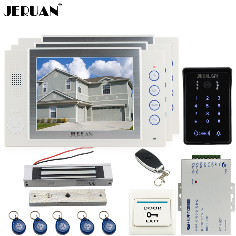 JERUAN 8`` video doorphone Recording intercom system kit 3 monitor New RFID waterproof Touch Key password keypad Camera 8G SD rfid keyboard ip65 waterproof video doorphone intercom system for 3 apartments with 7 color lcd video intercom system in stock