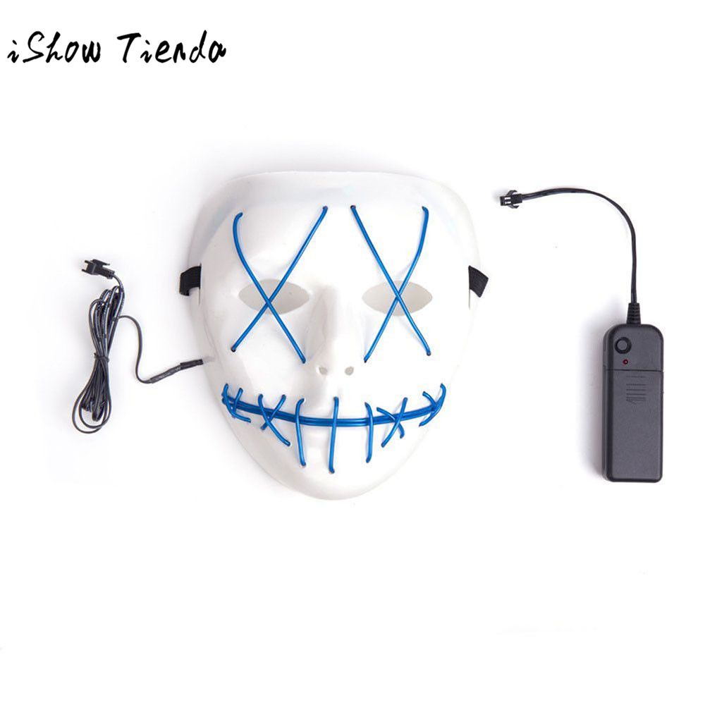 1PC New LED Funny Masks Party Mask The Purge Movie EL Wire DJ Party ...