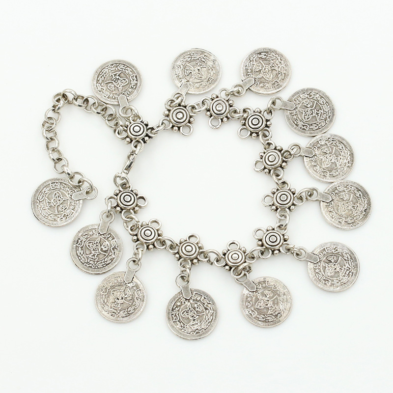 2016 New New Fashion Charming Retro Antique Silver Anklets Anklet Nation Carved Coin Pendant Lucky Jewelry For Women