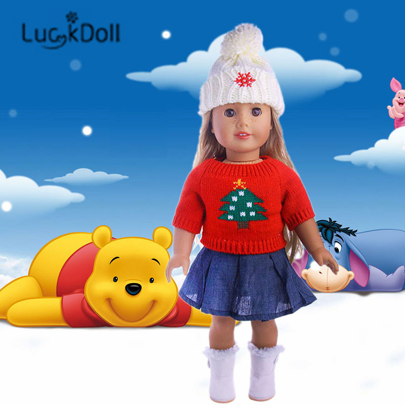 LUCKDOLL Fashion Sweater+Denim Skirt+Hat Fit 18 Inch American 43cm Baby Doll Clothes Accessories,Girls Toys,Generation,Gift