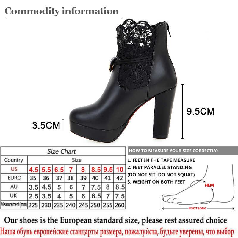 Gdgydh 2019 Kant Enkellaarsjes Dikke Hoge Hakken Vrouwelijke Korte Laarzen Ronde Neus Platform Dames Schoenen Witte Bruiloft Schoenen Plus size