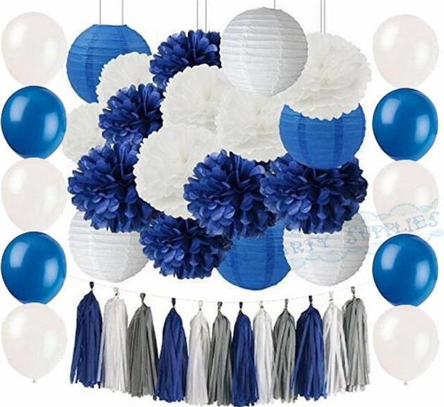 1 Set Party Decoration Kit Navy Blue White Tissue Pompom Balloon