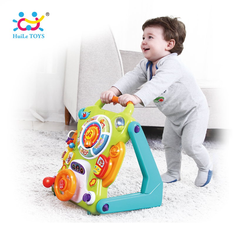 HUILE TOYS 2107 New Learning Walker For Kids 9 Month Up Musical Toys Baby Walker Stroller activity wheel baby walker safety lion cartoon walker stroller multifunctional baby music walker kids toddler stroller lions trolley children toys 1 3 years old