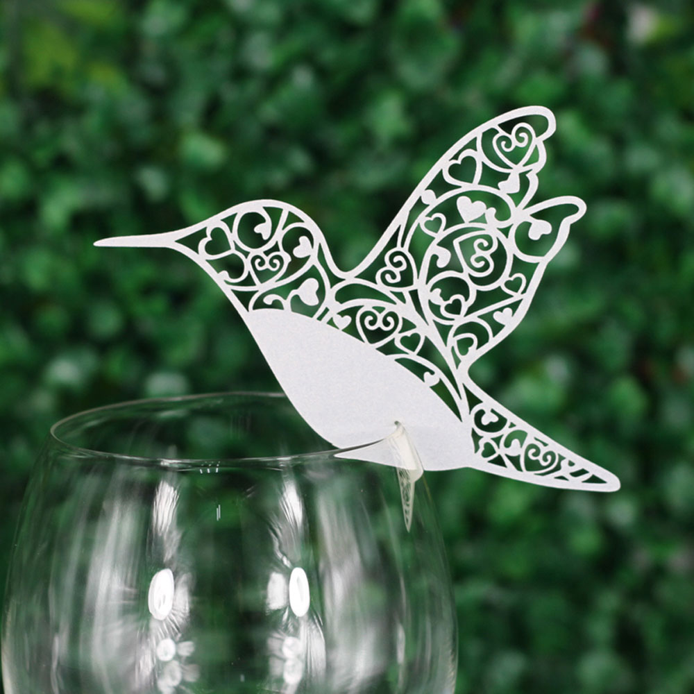 50 PCS Delicate Bird Carved Laser Cut Wine Glass Card Creative Weding Decoration Wishing ...