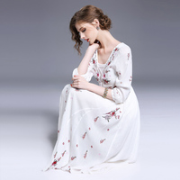 Women Summer Beach Boho Slim Maxi Dresses Elegant Sexy Deep V Collar Casual Embroidery Print Long