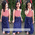 2016 Summer Girls Set sling + dress 2pcs / set T shirt suit children clothing striped suit pentagram stars Fashion style
