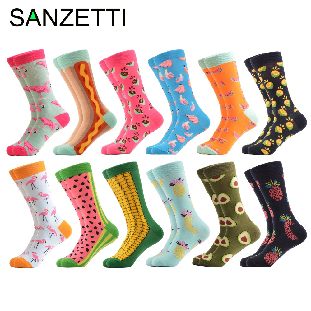 SANZETTI 12 pairs/lot Mens Fashion Funny Colorful Crew Happy Socks Combed Cotton Wedding Socks Casual Business Dress Socks Gift