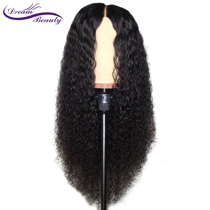 Dream Beauty 13*6 Deep Part Curly Lace Front Human Hair Wigs Natural Color Brazilian Remy Hair Lace Wig With Natural Hairline