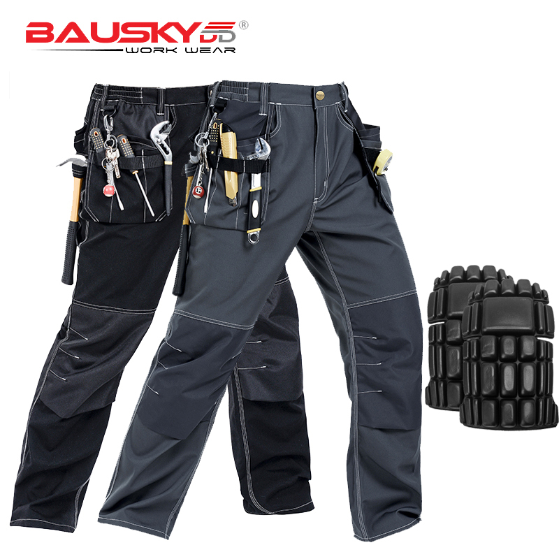 Working Clothes Men's Black Mechanic Pants Working Trousers With Knee Pads Workwear Uniforms B129