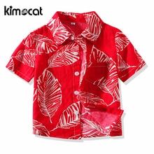 Kimocat Summer Toddler Boy Shirt Kids Short Sleeve Blouse Time Children Clothes Boys Casual Flower Shirts Cotton Kids Clothes blouse tunic kids clothes children clothing