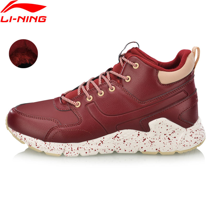 Li Ning Women LN VOLCANO Classic Leisure Shoes Wearable Fleece Anti slip Sneakers LiNing Sport Lifestyle