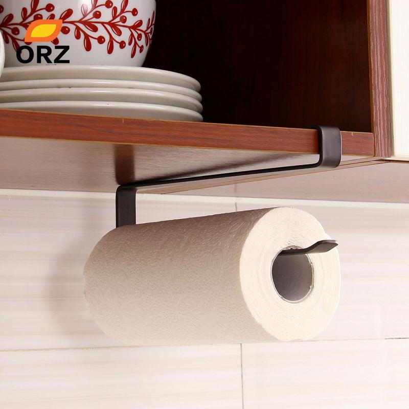 ORZ Creative Kitchen Paper Holder Hanging Tissue Towel Rack Bathroom Toilet Roll Paper Towel Holder Kitchen Cabinet Storage Rack
