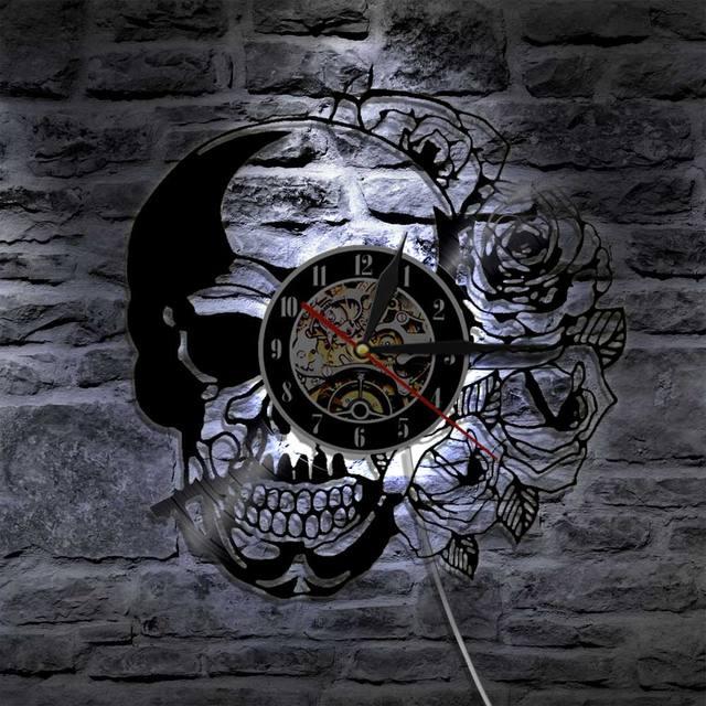 SKULL WITH ROSE WALL CLOCK LED BACKLIGH