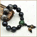 Yumten Black Agate Beads 18mm Bracelet Green Agate Dzi 925 Sterling Ball Strand Bracelets For Women Men Crystal Fine Jewelry Pag