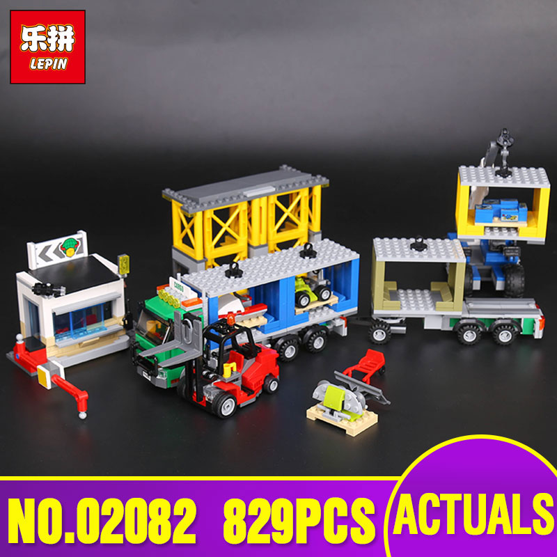 Lepin 02082 Genuine City Series The Cargo Terminal Set legoing 60169 Building Blocks Bricks Educational legoly Toy As Gift Model lepin 02082 new 829pcs city series the cargo terminal set diy toys 60169 building blocks bricks children educational gifts model