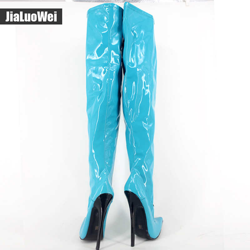 Extreme High Thin Heel 18cm Sexy Over-the-knee Long Boots Fashion Solid Zipper Ladies stiletto Leather Pointed Toe fetish Shoes