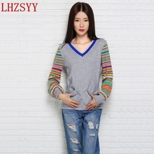 LHZSYY Autumn Winter New Cashmere Sweater color Bubble Sleeve women's V-collar splice Knit Pullover Short section pocket Sweater