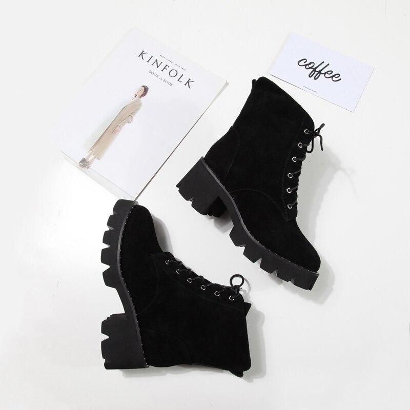 À Caoutchouc Bottes Bottines black Femmes Chaussures En D'hiver Cattle Lacets Armée Leather Martin Suede 2017 Courtes Black Décontracté Avant Dames Noir Antumn Militaires p5548rqWy