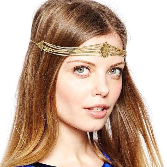US $3 52 20% OFF|Forehead Jewelry Indian hair accessories Women haarschmuck  Punk diademas Square Triangle Tassel Headbands Headdress Head Chain-in