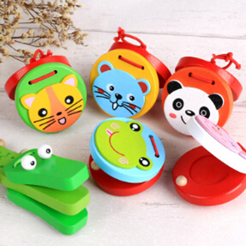 Hot Cartoon Castanet Clapper Handle Musical Instrument Toy Castanets Lovely Kids Child Baby  Preschool Early Educational Toys