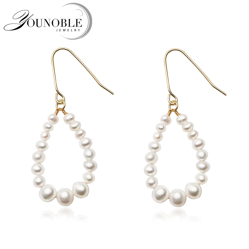 Natural Real White Freshwater Pearl Earrings Women,Bridal 925 Sterling Silver With Beads