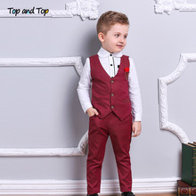 Haut à la mode, ensemble de vêtements pour garçon, costumes formels avec nœud papillon en coton, chemise à manches longues + gilet + pantalon, tenue 3 pièces pour enfants