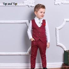 Top and Top Fashion Boy Clothes Set Boys Formal Suits Cotton Bow Tie Long Sleeve Shirt+Vest+Trousers 3Pcs Kids Gentleman Outfit