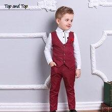 Üst ve en moda çocuk giysileri seti erkek resmi takım elbiseler pamuk papyon uzun kollu gömlek + yelek + pantolon 3 adet çocuklar beyefendi kıyafet