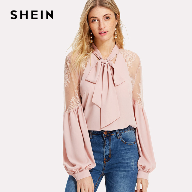 5132767a12 SHEIN 2018 Spring Autumn Pink Women Blouses Long Sleeve Elegant Tops and  Blouses Tie Neck Lace Shoulder Lantern Sleeve Blouse