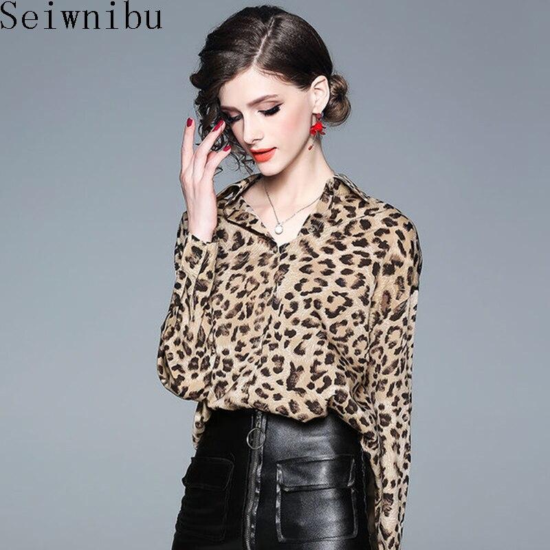 Ol Mujeres Blusas Streetwear De 2019 Tops Cuello En Estampado Leopardo Las Camisas Otoño Blusa Camel Larga Sexy V Manga axwa6YRdZq