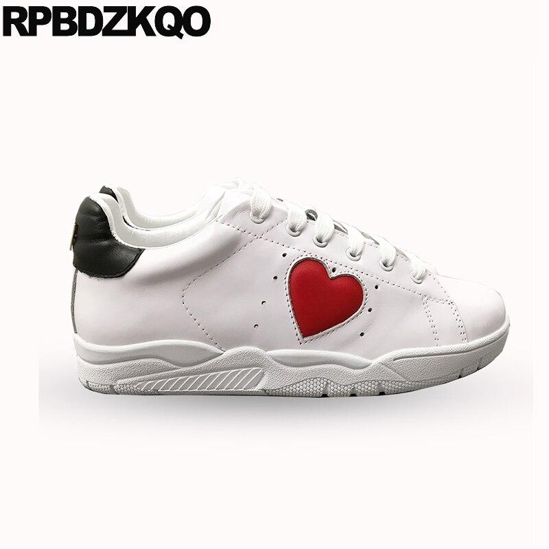 Blanc en cuir véritable coeur paillettes appartements décontracté femmes chaussures de luxe à lacets de haute qualité cils chaussures de sport à paillettes italiennes - 2