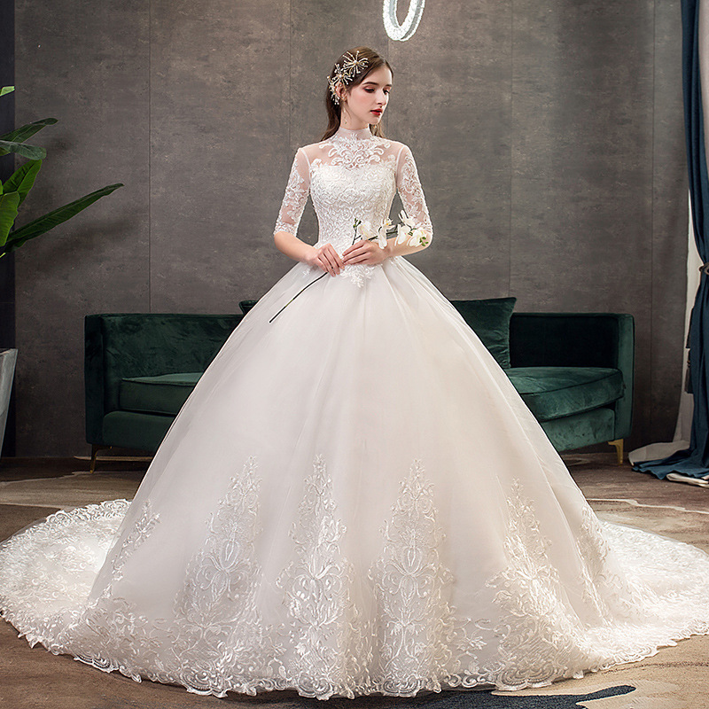 Image 2 - 2019 New High Neck Half Sleeve Wedding Dress Sexy Illusion Lace  Applique Simple Slim Custom Made Bridal Gown Robe De Mariee LWedding  Dresses