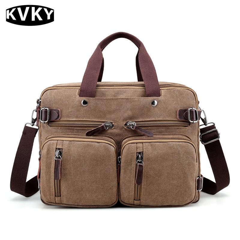 KVKY Brand 2017 New Men Canvas Shoulder Crossbody Bags Men Solid Handbags Man Casual Travel Multifunction