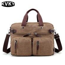 Kvky marca 2017 nuevos hombres de la lona del hombro crossbody bolsos de los hombres bolsos hombre multifunción back pack portátil de viaje ocasional sólido
