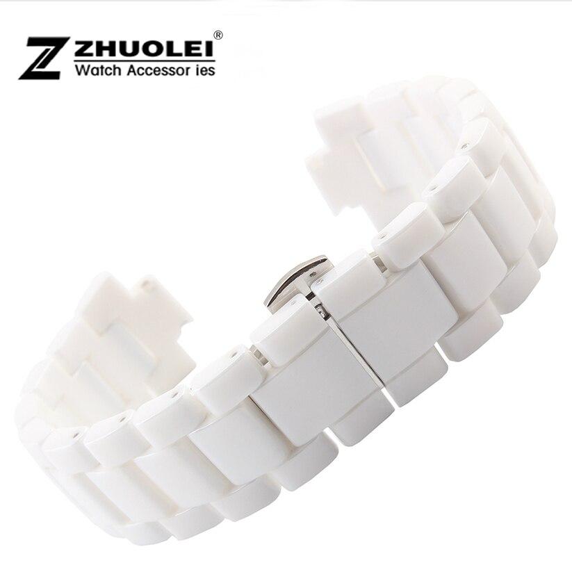 20mm 23mm White High Quality Ceramic Watch Band Strap Bracelet For AR1424 AR1421 AR1425 AR1426 1400 men'  women watches