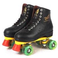 Patins à roulettes En Cuir Véritable Noir Avec Led Verte Éclairage Roue Double Ligne Skate Adulte 4 Roues Deux ligne Roller chaussures