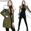 TNLNZHYN Korea Style 2017 New Winter Women Coat Medium Long ArmyGreen Fur Collar Coat Thick Hooded Women Down Coat SK261