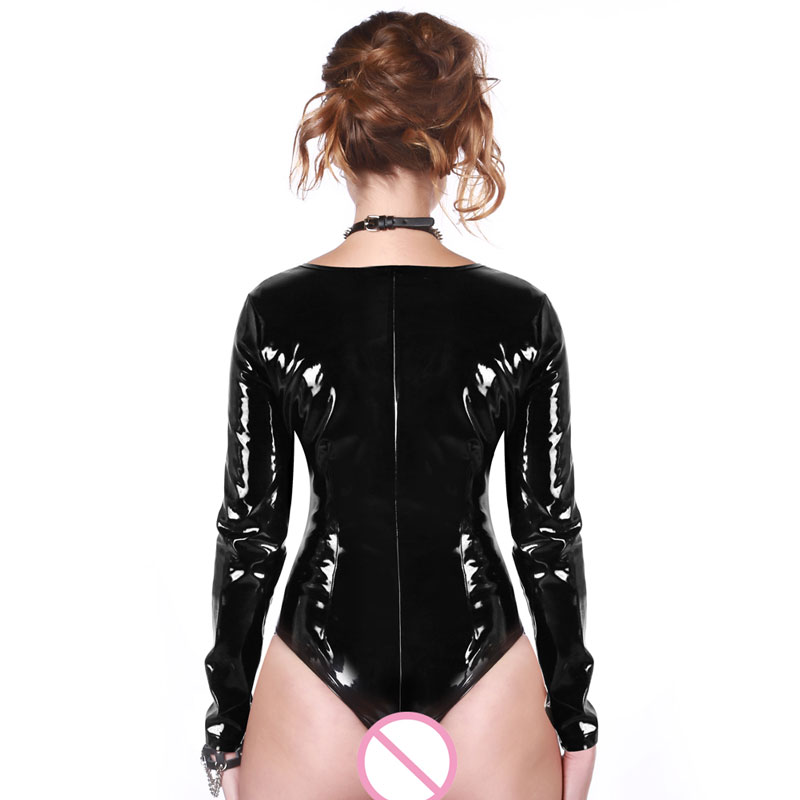 Sexy Women Punk Deep V Neck High Cut PVC Shiny Bodysuit Zipper Open Latex Matt Catsuit Sexy Stage Wear Longsleeve Plus Size F54
