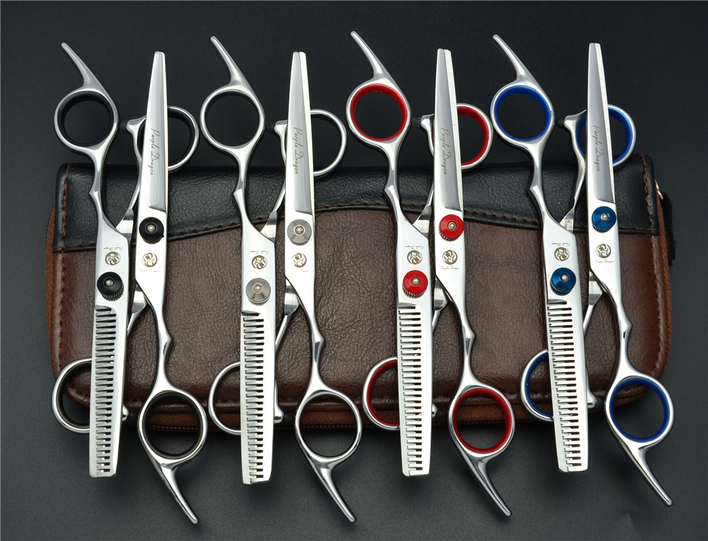 1 Pair 2Pcs 6.0'' Purple Dragon Professional Human Hair Scissors Hairdressing Cutting + Thinning Shears Hair Styling Tools Z1001