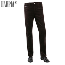 HARPIA New Fashion Winter Men Pants Man Thick Trousers Mid Waist Loose Trousers  Corduroy Pants Male Long Straight Casual Pants