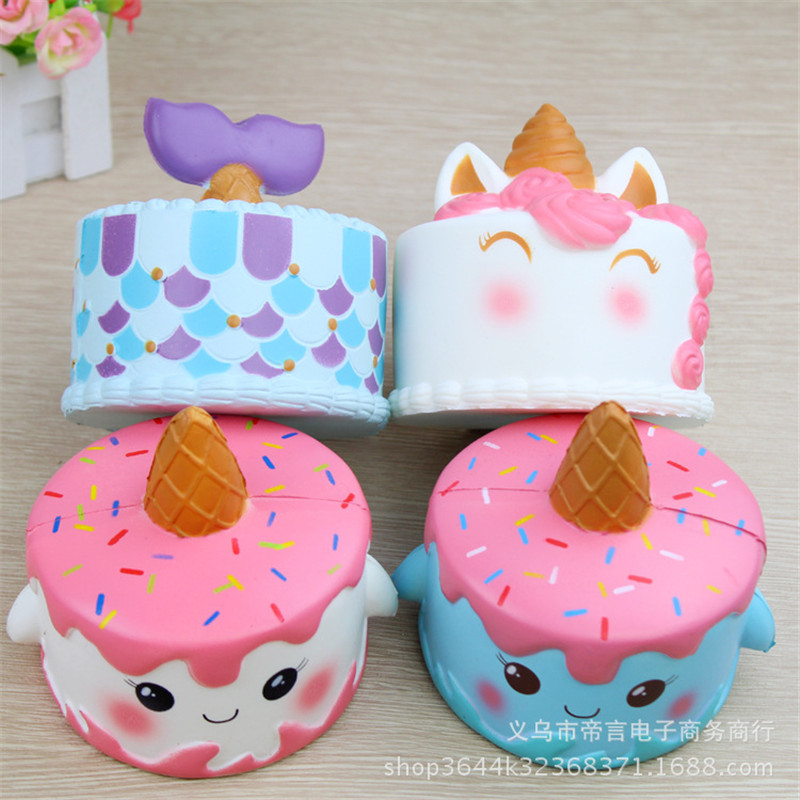 Zhenwei Squishy Toys Slow Rising Unicorn Deer Cake  Squishi Squeeze Toy Squishes No Sound Decoration Kindergarte